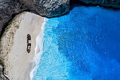 Aerial view of Navagio (Shipwreck) Beach in Zakynthos island