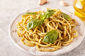 Pasta with homemade pesto sauce.