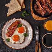 Breakfast with bacon , fried egg, coffee and orange juice