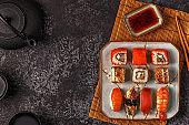 Sushi Set: sushi and sushi rolls on plate