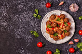 Roasted  meatballs with spaghetti.