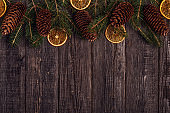 Christmas wooden background.