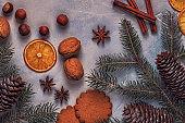 Christmas light stone background.