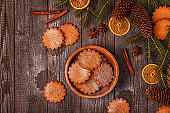 Christmas wooden background. Ginger Cookies.