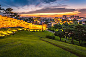 Korea Architecture Traditional landscape at Hwaseong Fortress in Sunset, Suwon, South Korea.