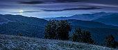 beautiful panorama of Carpathians at night