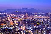 Seoul city Beautiful night of Korea with Seoul Tower after sunset