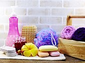 hygiene cleansing spa accessories with Shampoo soap and shower cream bathroom products