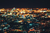 True tilt shift shooting of night city from high point