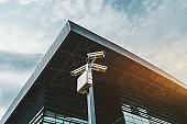Pole with security cameras and building of railway station behind