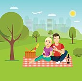 Young happy couple having picnic. Vector flat illustration