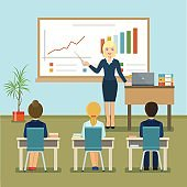 Business seminar.  Flat style vector illustration