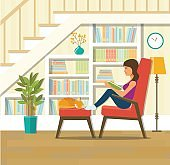 Cozy place to relax under the stairs. Vector flat illustration
