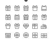 Gifts UI Pixel Perfect Well-crafted Vector Thin Line Icons 48x48 Ready for 24x24 Grid for Web Graphics and Apps with Editable Stroke. Simple Minimal Pictogram