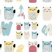 Vector abstarct seamless pattern with cats. Minimalistic surface pattern design with animals.