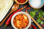 Kimchi. Fermented napa cabbage with ingredients