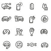 Electric Car linear icons set.