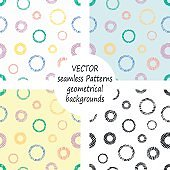 Set of seamless vector geometrical patterns with geometric figures, forms. pastel endless background with hand drawn textured geometric figures. Graphic vector illustration