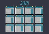 Calendar for 2018 year in french. From Monday to Sunday, vector illustration.