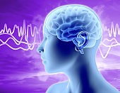 Brain waves illustration with woman head profile, thinking and concentration idea.
