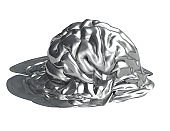 Gray melting brain. Memory loss and diseases creative idea 3D illustration isolated on white.Shiny gray melting brain. Memory loss and diseases creative idea 3D illustration isolated on white.