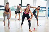 Happy people in aerobics class