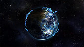 Illustrated image about the connected world with an Earth image courtesy of Nasa.org