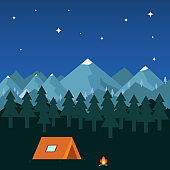 Night camping in the mountains.