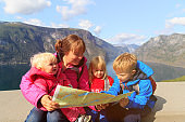 mother with kids travel in Norway
