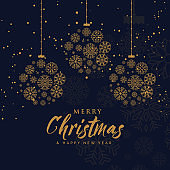 elegant merry christmas background made with snowflakes in premium style