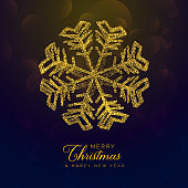 premium chritmas background with golden snowflake made with gliter