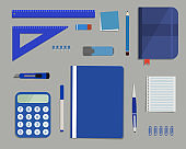 Blue stationery on a gray background