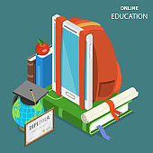 Online education flat isometric low poly vector concept