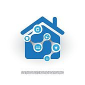 Smart Home, Internet Of Things Design Concept With House