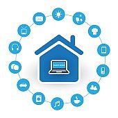 Internet Of Things Design Concept With House and Icons