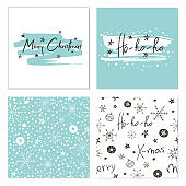 Set of creative Christmas cards with snowflakes, seamless patterns and hand drawn lettering. Merry Christmas. Ho-Ho-Ho. Template for greeting cards, scrapbooking, invitations and stickers.