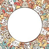 Pets in a circle around empty space