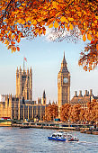 Big Ben with autumn leaves in London, England, UK