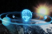 Holograms of the planet earth, moon, Jupiter moving along an ellipse in space 3d illustration