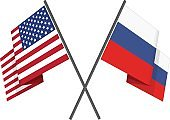 Russian and american crossed flag.