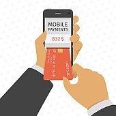 Mobile payments concept illustration.