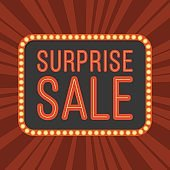 neon text Surprise Sale and retro board