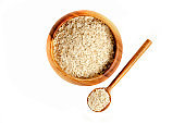 Oatmeal in wooden bowl