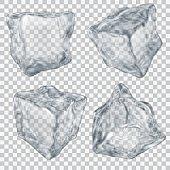 Set of transparent gray ice cube