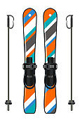 ski equipment with ski board and ski poles