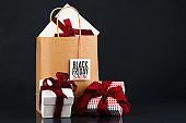 Black Friday Sale. Shopping bags with gifts