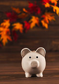 Fall savings. Piggy bank with autumn leaves
