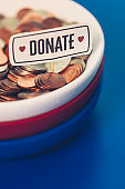 American charity and donation theme. Fundraising concept