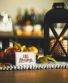 Autumnal decorations with Thanksgiving message for fall holidays