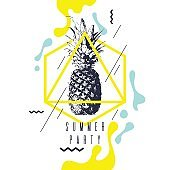 Fashionable modern poster with pineapple, summer party. retro style banner